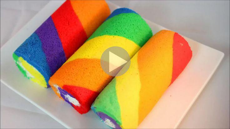 Fantastico video tutorial per realizzare dei coloratissimi Rainbow Rolls con una base di pasta biscotto da farcire a piacere!
