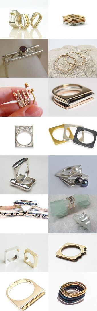 women's square stacking rings by mysugarbear on Etsy--Pinned with TreasuryPin.com