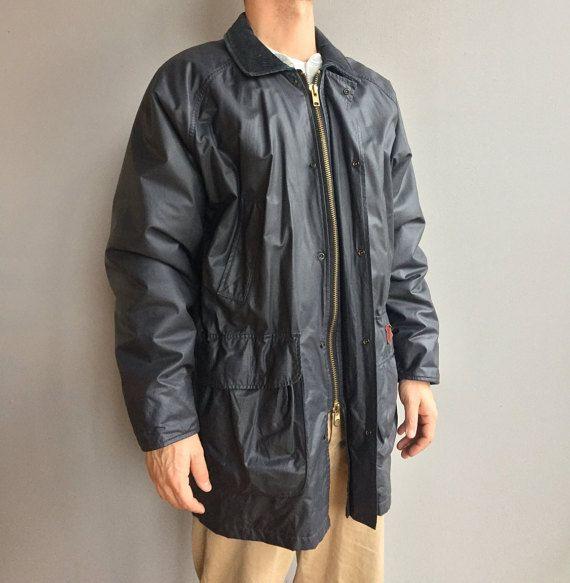 Woolrich giacca di pioggia Navy scuro con fodera tartan, velluto a coste, collo, vita con coulisse (L)