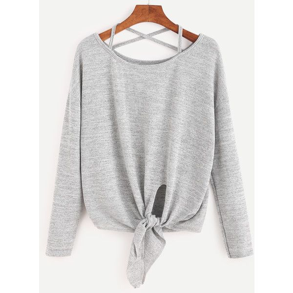 Heather Grey Drop Shoulder Criss Cross Tie Front T-Shirt (39 BRL) ❤ liked on Polyvore featuring tops, t-shirts, shirts, sweatshirts, grey, long sleeve tops, grey long sleeve shirt, round neck t shirt, heather gray t shirt and t shirt