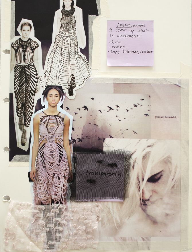 Fashion Sketchbook page: fashion drawings, moodboard, colour suggestions  material experiments - exploring the melancholic sense of inadequacy through transparency  transformation of fabric // Lina Michal