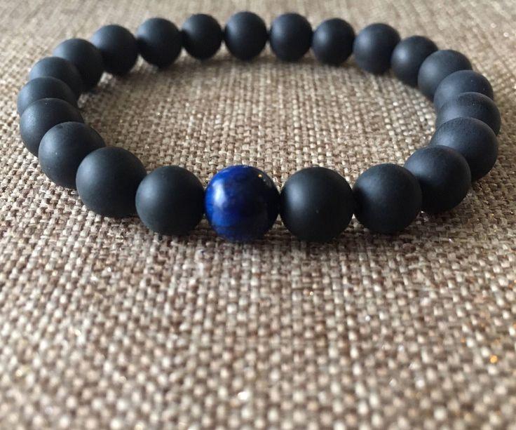 Excited to share the latest addition to my #etsy shop: 8mm Matte black onyx Bracelet, Beaded Bracelet, Men's women Bracelet, blue tiger eye matte black onyx, black bracelet