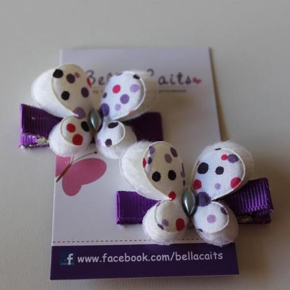 $2.50 Purple and White Butterfly Hair Clips by Bella-Caits on Handmade Australia