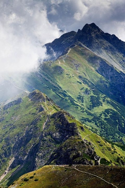 Tatra Mountains, border between Slovakia and Poland ...