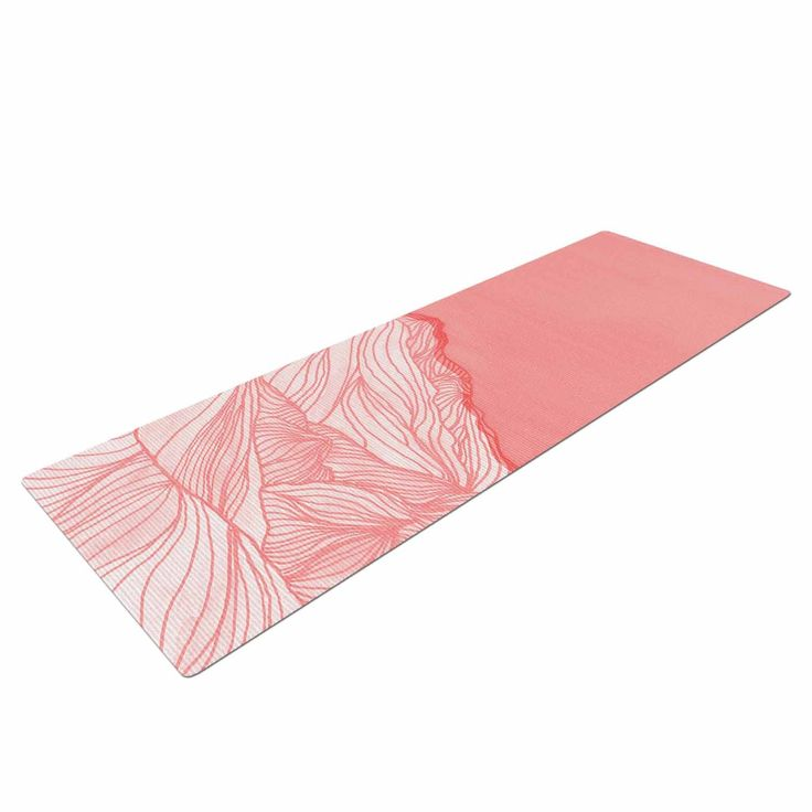"""Viviana Gonzalez """"Lines In The Mountains - Pink"""" Pink White Illustration Yoga Mat from KESS InHouse"""
