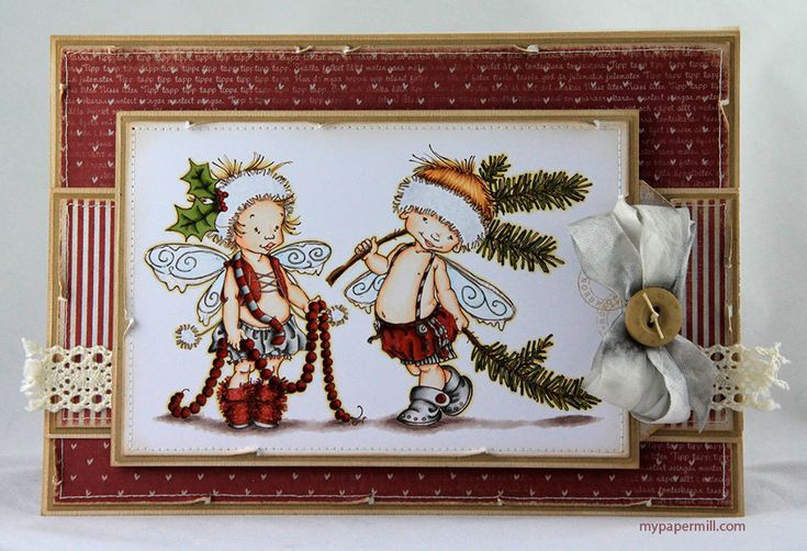 Christmas card. Mo Manning images merged and colored with Copics. Patterned papers by Maja Design.