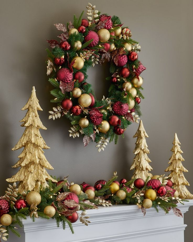 Assorted textures and colors make our holiday foliage a joyful celebration of the Christmas spirit. This Balsam Hill exclusive collection features classic green foliage decorated with burgundy and gold shatter-resistant ornaments and metallic leaf embellishments.