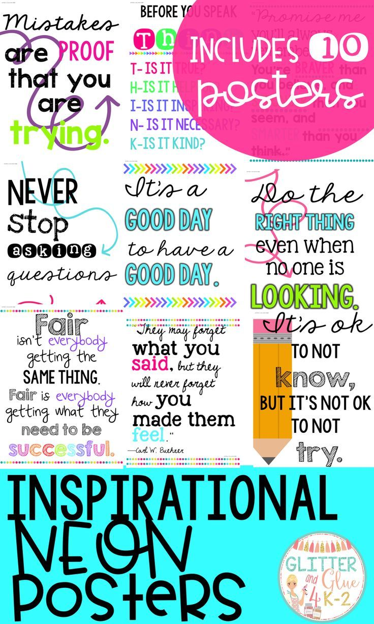 Looking For Something Inspirational To Brighten Up Your Classroom These Posters Include Ten Of M Classroom Inspiration Classroom Posters Inspirational Posters
