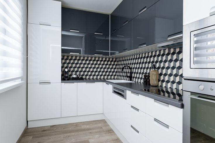 Modern kitchen with retro tiles
