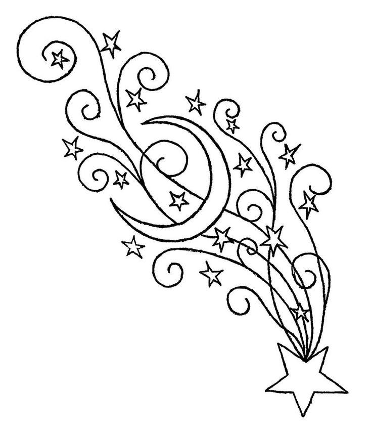 Dibujos para colorear de estrellas fugaces hacia abajo