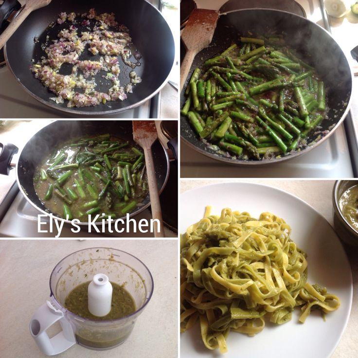 Fettuccine paglia e fieno con crema di asparagi.