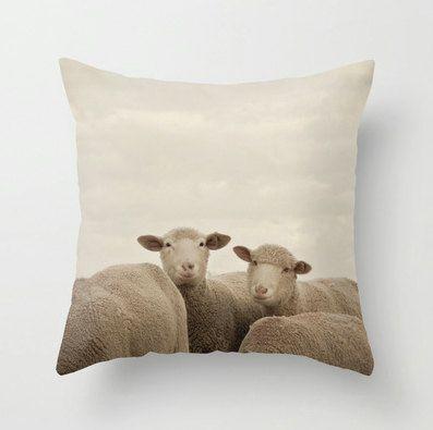 Pillow Case - Smiling Sheep - Nature Home Decor - Neutral Beige - Pillow Cover  - Fine Art Pillow - 16x16 18x18 20x20