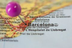 Pushpin marking on Barcelona, Spain Royalty Free Stock Photography