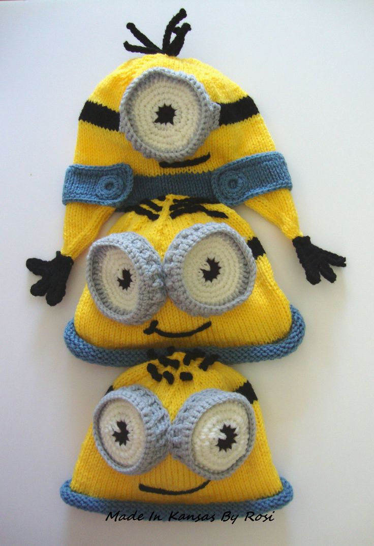 Knitted minion hats Made In Kansas By Rosi Pinterest Crochet minion hat...
