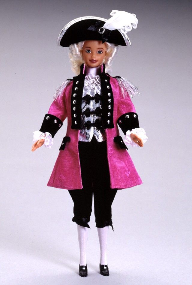 George Washington Barbie from FAO Schwarz's American Beauties Collection, designed by Mattel's Ann Driskill, with ruffled jabot, plumed hat and powder white hair.