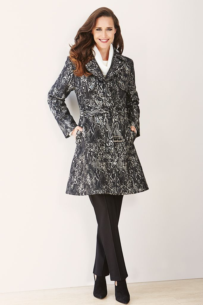 ANIMAL JACQUARD TRENCH COAT The classic trench coat gets an upgrade with this luxurious Liz Jordan style. Cut for a longline shape & patterned with a sleek animal print, this coat features two front pockets & a matching tie belt that accentuates the waistline. Layer yours effortlessly over any look for stylish protection against the elements.