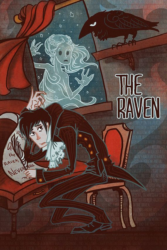 The Raven Edgar Allen Poe lit poster by theGorgonist on Etsy, $20.00