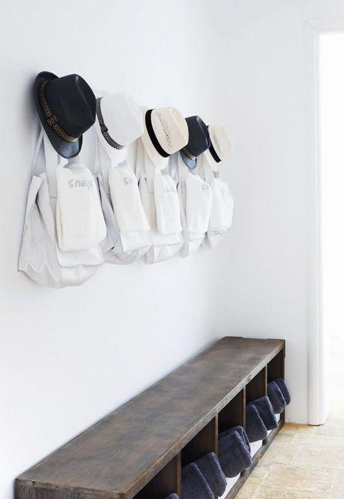 white, cream, black, brown: Hats, Interior, Idea, Summer House, Style, Mud Room, Entryway