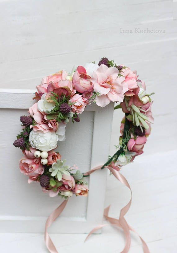 Pink white flower crown Peony rose floral crown Boho wedding Bridal headband Flower halo Bridesmaid hair wreath Floral headpiece