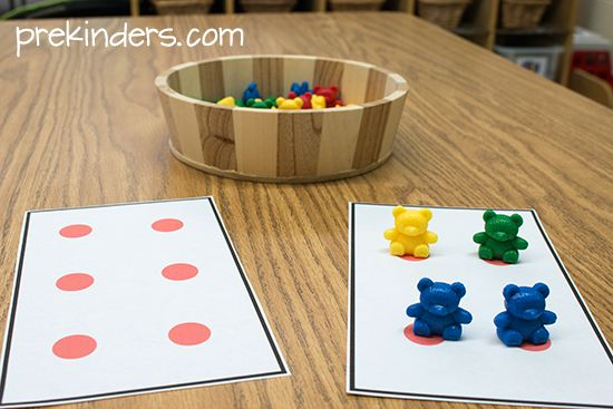 *Number/numberal match teddy bear counters on dot cards