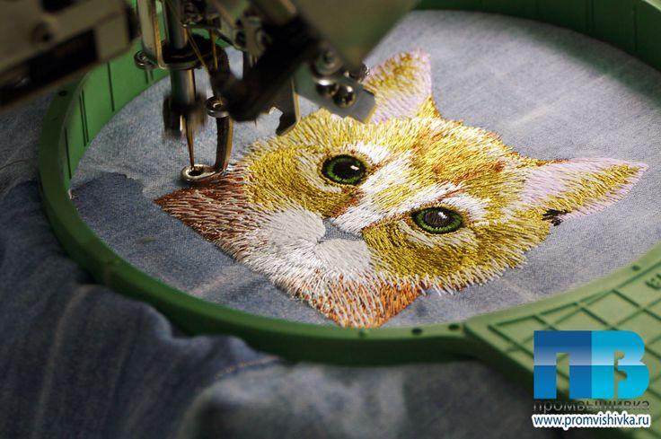 Машинная вышивка котенка #embroidery #cat #кошки #вышивка