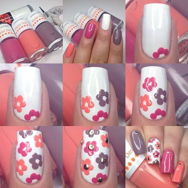 uas decoradas con flores faciles