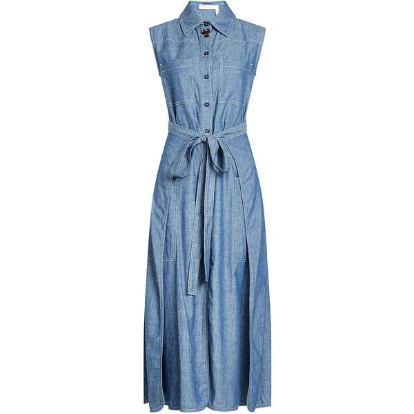 See by Chloé Sleeveless Denim Dress (27515 ALL) ❤ liked on Polyvore featuring dresses, denim, blue, sleeveless wrap dress, wrap dresses, button down shirt dress, denim shirt dress and blue sleeveless dress