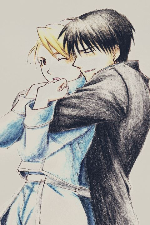 Full Metal Alchemist Roy Mustang and Riza Hawkeye Credits to the artist