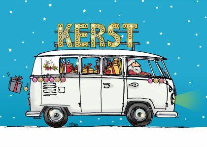 Kerstkaart vw bus wit av Tes, Vw bus and Van