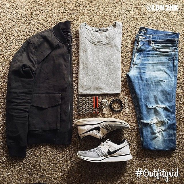 Today's top #outfitgrid is by @ldn2hk. #AlexanderWang #BomberJacket, #JohnElliottCo #Tee, #Nike #Flyknit #Trainer, and #APC #Denim.