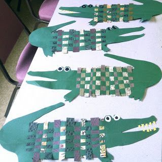 Weaving Crocodiles with decorative paper.