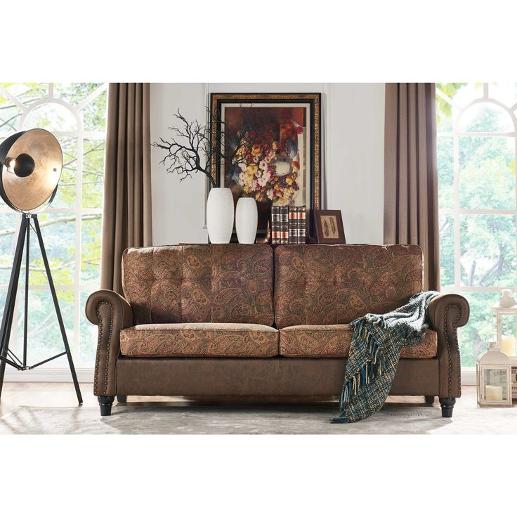Handy Living Victoria SoFast Sofa in a Mix of Paisley Fabric and Saddle Distressed