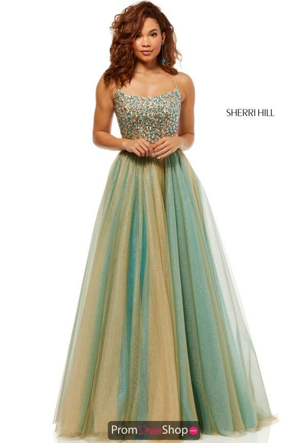 e7a68c8669d This one of a kind Sherri Hill dress 52404 is sure to have all eyes on you  all night long. Featuring a magnificent A-line skirt