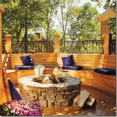 Cozy Fire pit with Benches = ideal outdoor living space