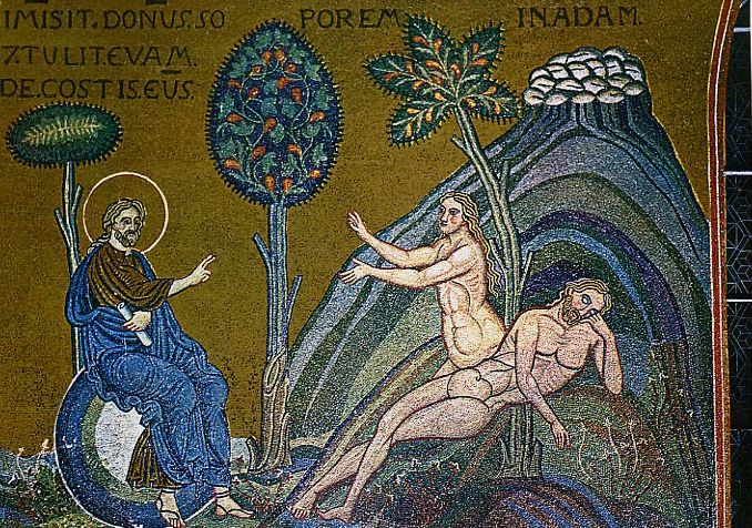 Сотворение Евы из ребра Адама — мозаика верхнего ряда западной стены Monreale creation Eva - Собор Монреале