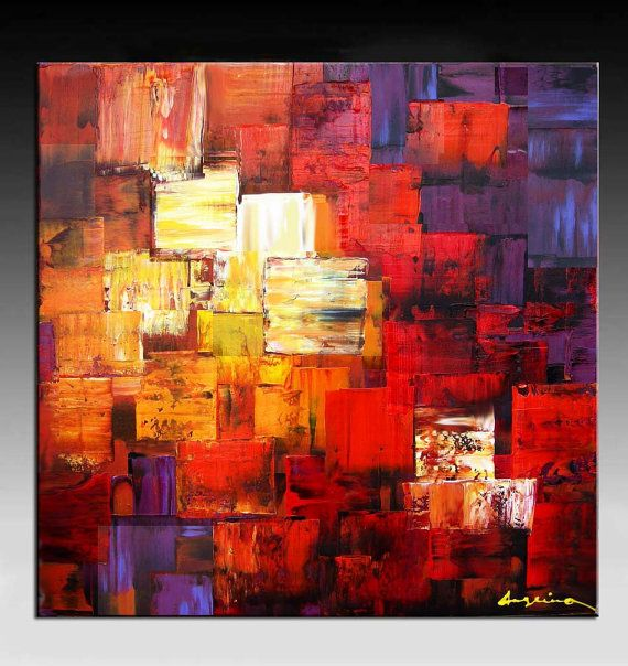 Abstract Painting,  HUGE Original DEEP Artist Canvas Contemporary Palette Knife Painting,  for  Wall Decor, Textured Painting  Ready to Hang on Etsy, $299.00