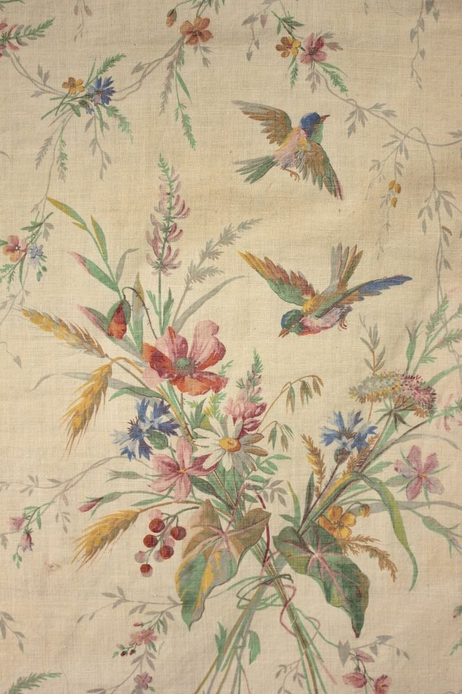 Antique French bird fabric c 1880 colorful hand block printed material  www.textiletrunk.com