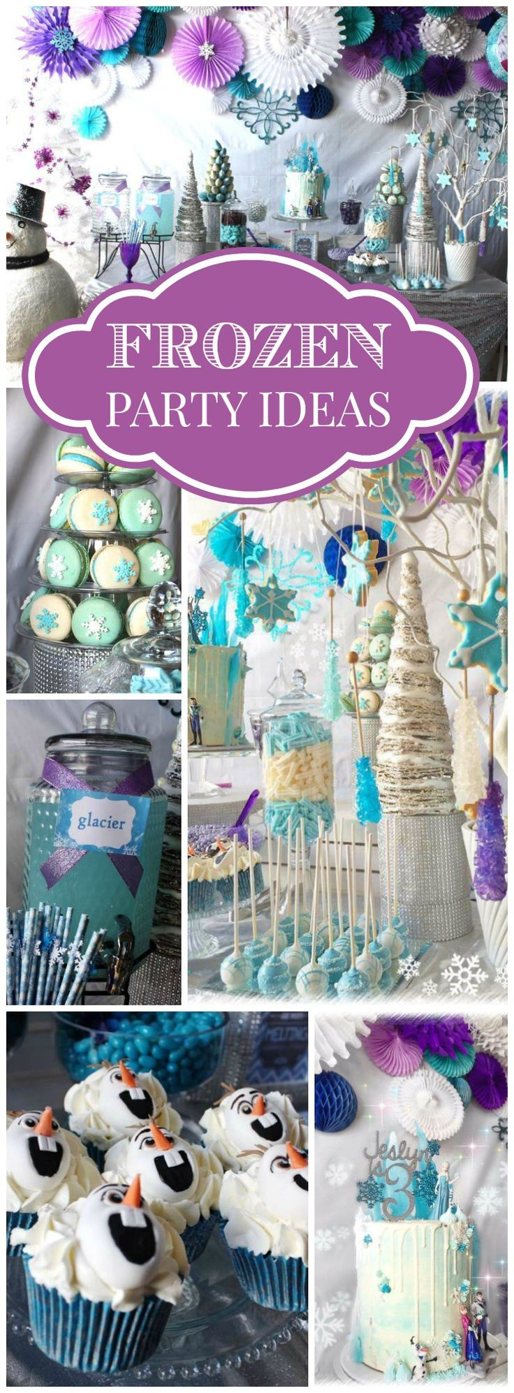 What a pretty Frozen party in blue, white, silver and purple! See more party ideas at CatchMyParty.com!