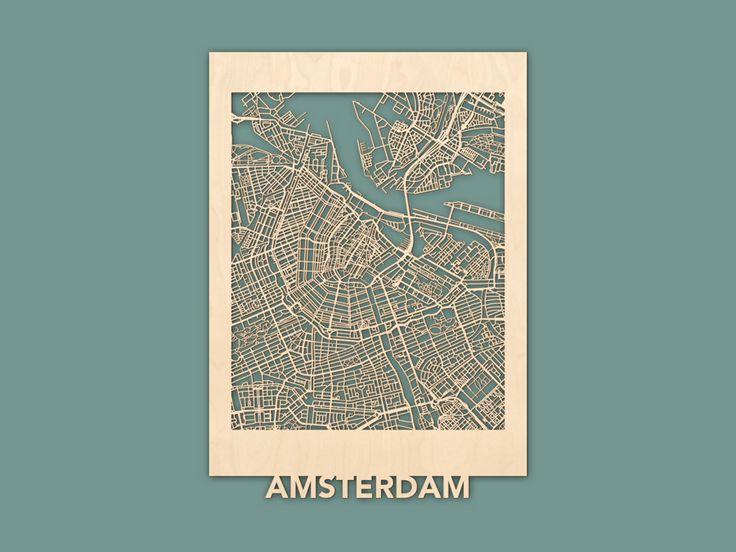Citymap Amsterdam Berken (50×70) RENDER