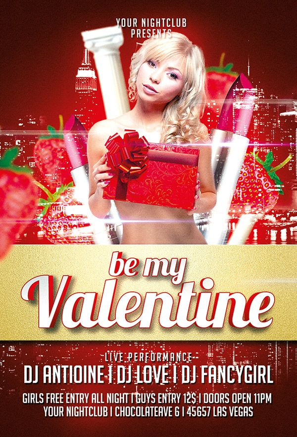 free valentine flyer template psd