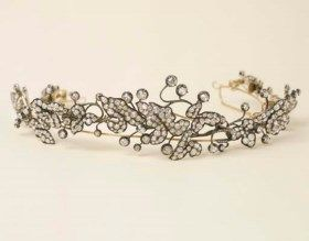 ANTICA TIARA IN ORO E ARGENTO CON DIAMANTI