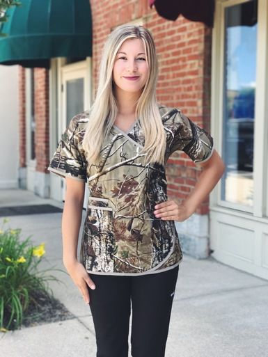 Camo Scrub Top for Women in Real Tree Camo Print