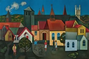Rita Angus - Churches, Hawke's Bay -1962-63