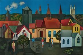 Rita Angus - Churches, Hawke's Bay -1962-63