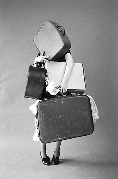 Suitcases, travel bag, black and white