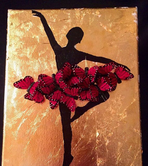 Ballerina silhouette gold leaf and monarch butterfly painting ballerina painting butterfly tutu