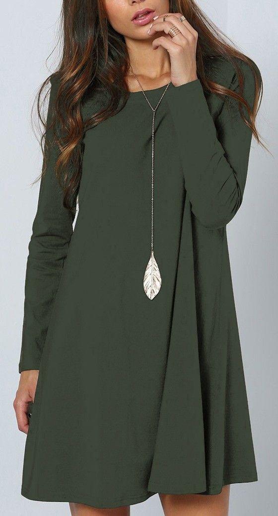 Green Plain Long Sleeve Casual Mini Dress