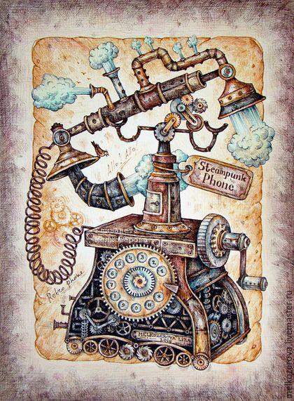 """Фантазийные сюжеты ручной работы. Картина в раме """"Стимпанк-телефон"""" ретро…"""