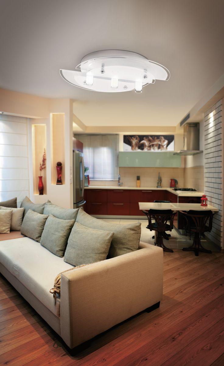 Eglo Lighting / Vallerano / Chrome/Glass Ceiling Light