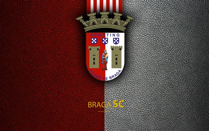 Download wallpapers Braga FC, 4K, leather texture, Liga NOS, Primeira Liga, emblem, logo, Braga, Portugal, football, Portugal Football Championships